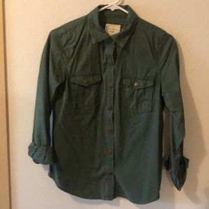 Green Chambray Button-Down Top